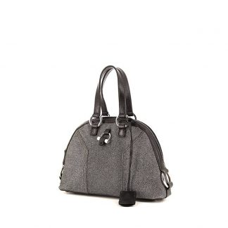 b4d5b9cbece57 Best Yves Saint Laurent Replica Muse small model handbag in grey glittering  leather and black leather