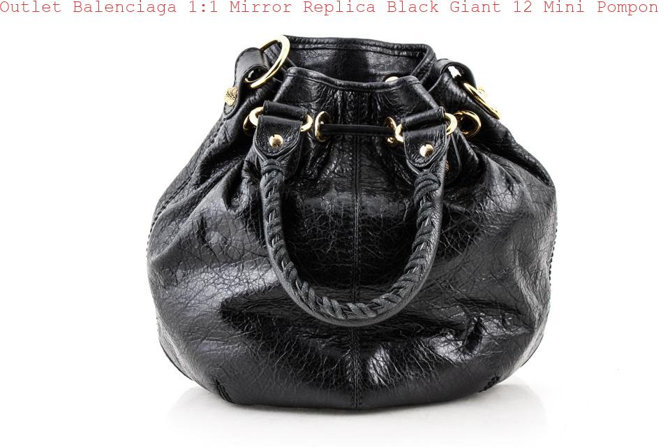 fa37673938 Outlet Balenciaga 1:1 Mirror Replica Black Giant 12 Mini Pompon Color  Lambskin Leather Shoulder Bag balenciaga triangle bag