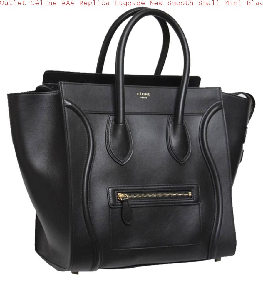 Outlet Céline Aaa Replica Luggage New Smooth Small Mini Black Leather Tote Celine Bag